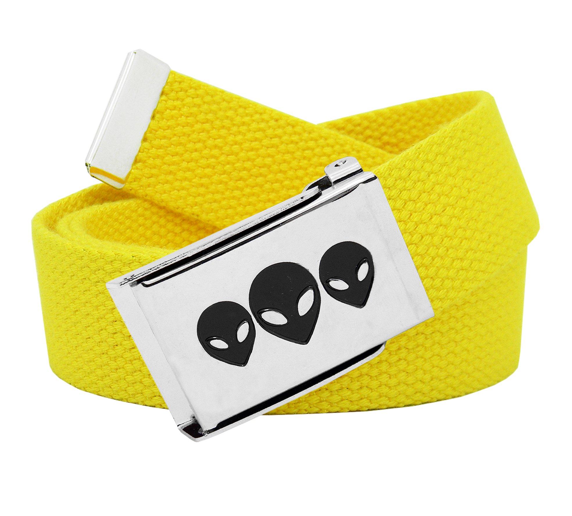 Women's Aliens Silver Flip Top Belt Buckle with Canvas Web Belt XXX-Large Yellow
