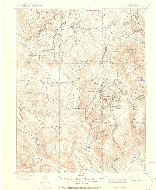 Amazoncom Yellowmaps Pikes Peak Co Topo Map 1125000 Scale 30 X - Pikes-peak-on-us-map