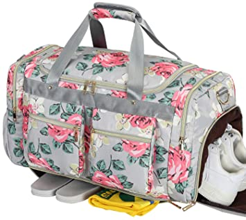 d6a6a28ffe47 Women Overnight Duffel Bag with Shoe Pocket Floral Weekender Duffle for Lady  Girls Weekend Travel Tote