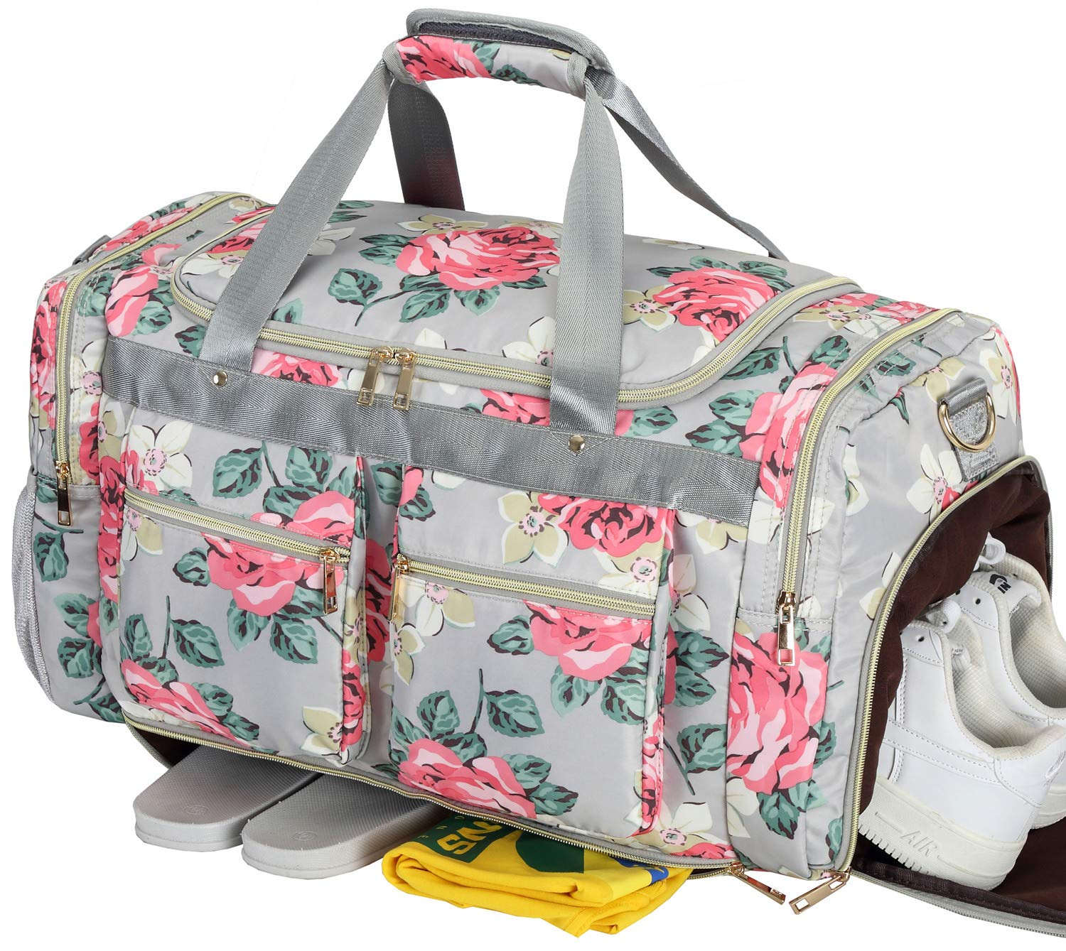 Women Overnight Duffel Bag with Shoe Pocket Floral Weekender Duffle for Lady Girls Weekend Travel Tote Carry On Bag