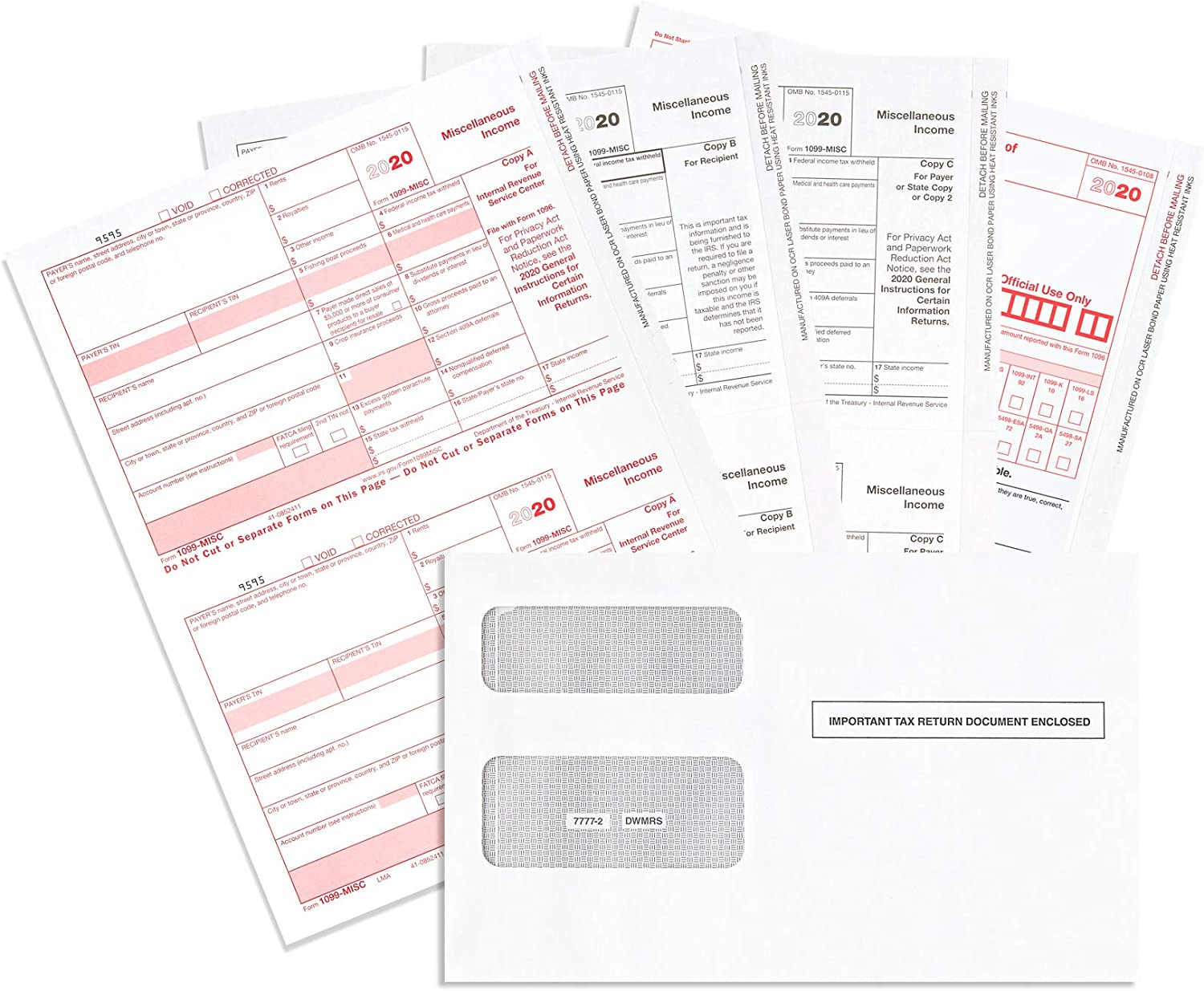 1099 MISC Forms 2020, 4 Part Tax Forms Kit, 50 Vendor Kit of Laser Forms, Compatible with QuickBooks and Accounting Software, 50 Self Seal Envelopes Included