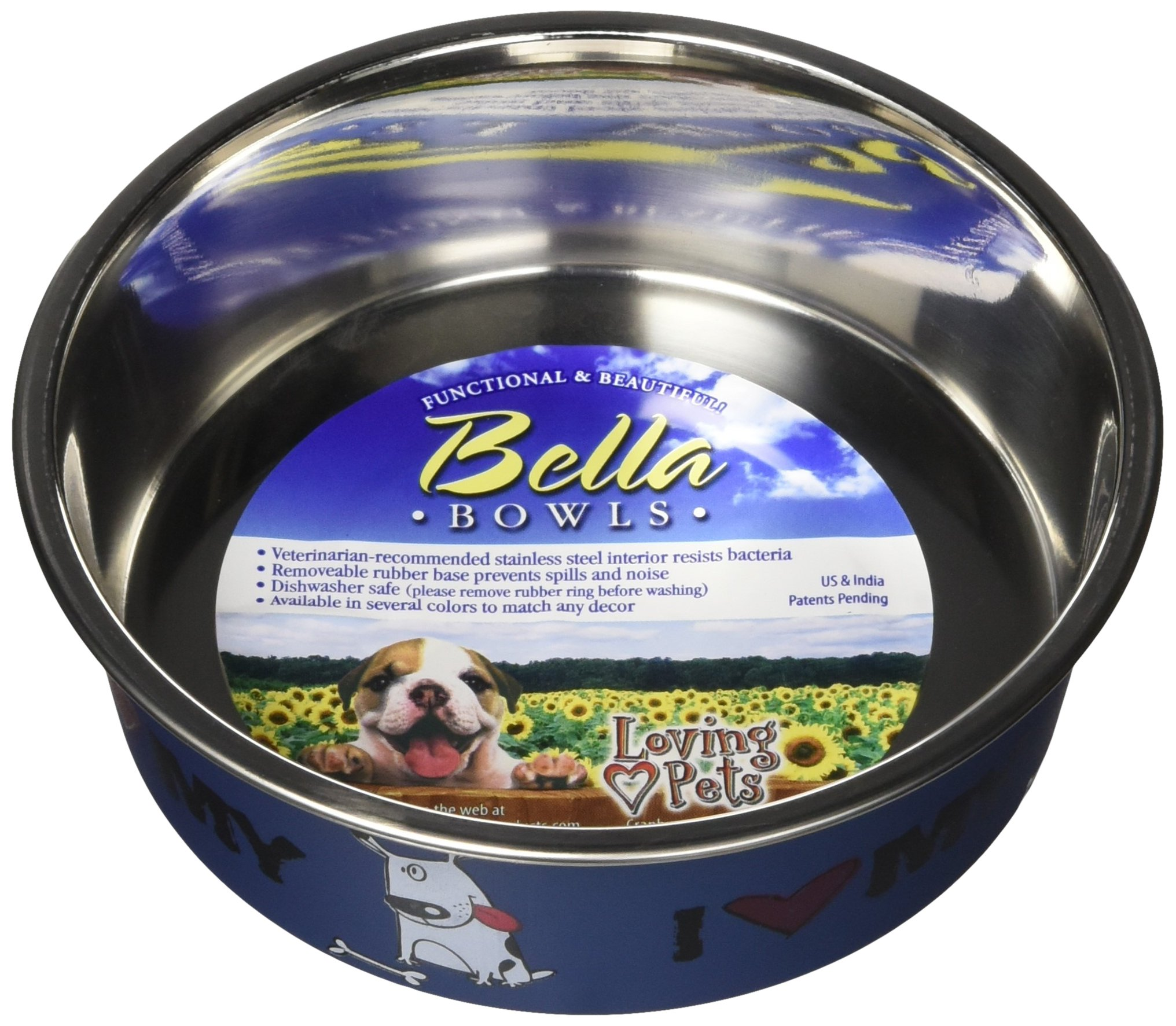 Loving Pets Bella Bowl Designer & Expressions Dog Bowl, Small, I Love My Dog, Steel Blue