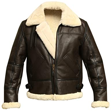 4f0d783c1 B3 Bomber WWII Pilot Real Shearling Brown Sheepskin Leather Jacket (XS)