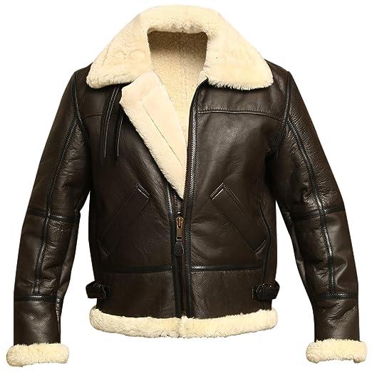 c85ebe730 Men B3 Bomber Aviator Shearling Sheepskin Leather Winter Jacket