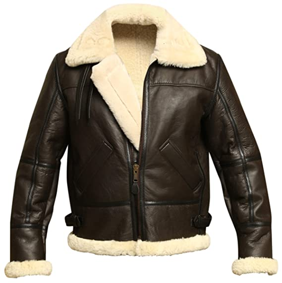 Men's Vintage Style Coats and Jackets Men B3 Bomber Aviator WWII Shearling Sheepskin Leather Jacket $279.95 AT vintagedancer.com