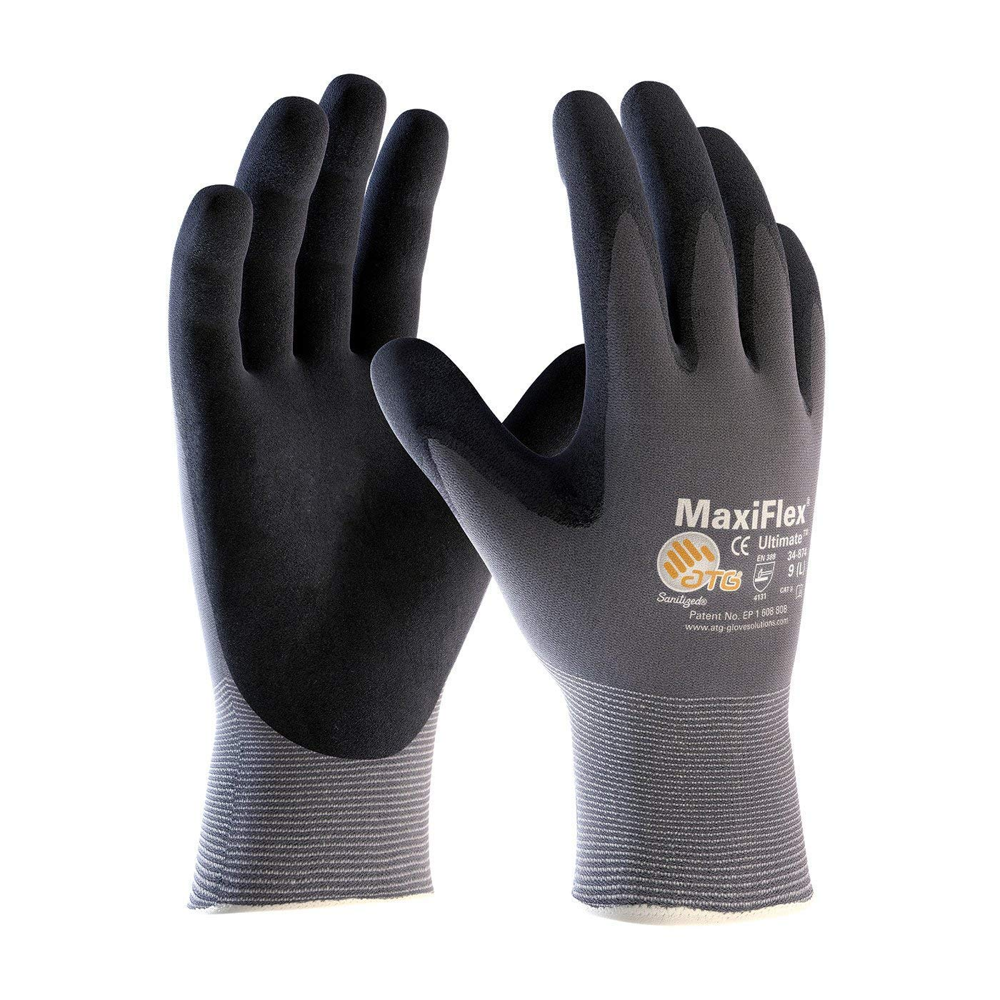 ATG MaxiFlex 34-874/XXL Ultimate - Nylon, Micro-Foam Nitrile Grip Gloves - Black/Gray - XX-Large - 24 Pair Per Pack