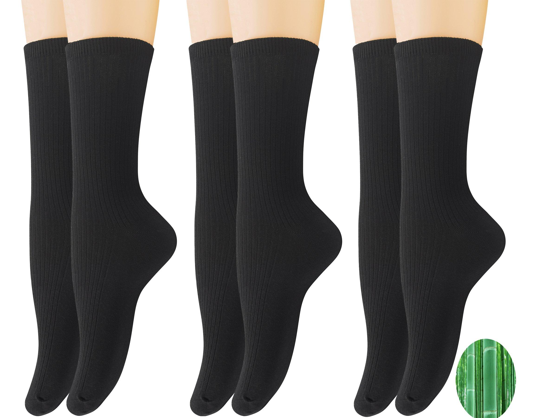 Yomandamor Women's 6 Pack Colorful Bamboo Dress Crew Socks,L Size(Sock Size:9-11)(B)