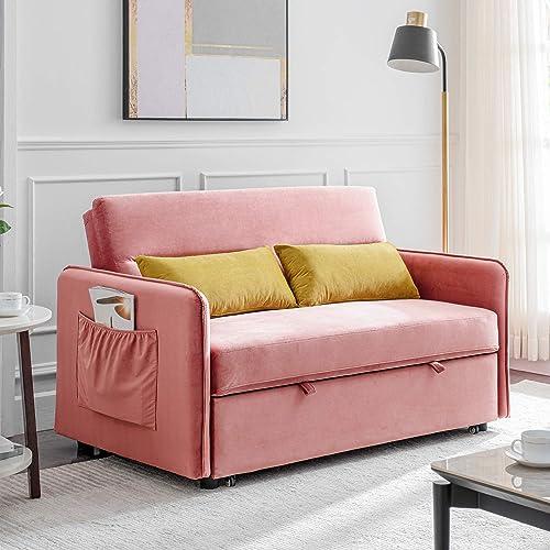 Sleeper Sofa Bed, Velvet Sofa Bed with 2 Lumbar Pillows, Pink
