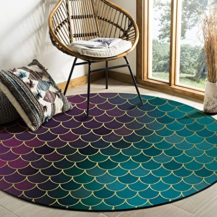 Fish Glitter Ocean Area Rug Round Rugs 6ft Ombre Purple Teal Collection Area Runner Circle Rug Non Slip Carpets Kids Living Room Bedroom Indoor Outdoor Nursery Rugs Décor Amazon Co Uk Kitchen Home