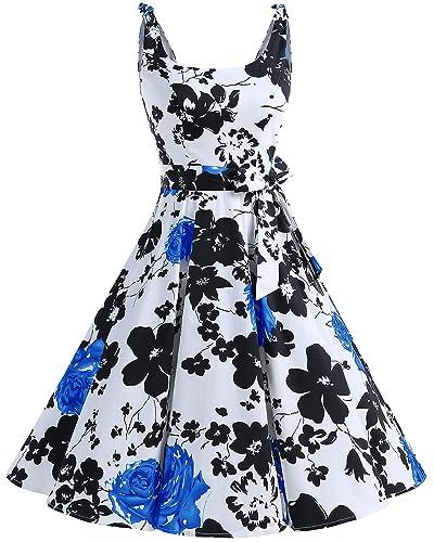 Bbonlinedress 1950's Bowknot Vintage Retro Polka Dot Rockabilly Swing Dress BlueFlower S
