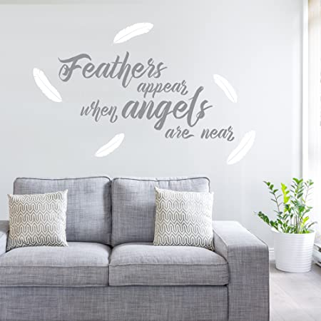 White Feathers Appear When Angels Are Near Quote For Walls Bedroom