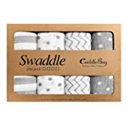 Muslin Swaddle Blankets by CuddleBug - Spots & Stripes/White & Grey- 4 Pack Baby Blanket for Newborns - Swaddle Blanket, Swaddle Wrap, Muslin Swaddle and Receiving Blankets, Boy or Girl