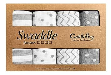 Muslin Swaddle Blankets by CuddleBug - Spots   Stripes White   Grey- 4 Pack ffe730f0040