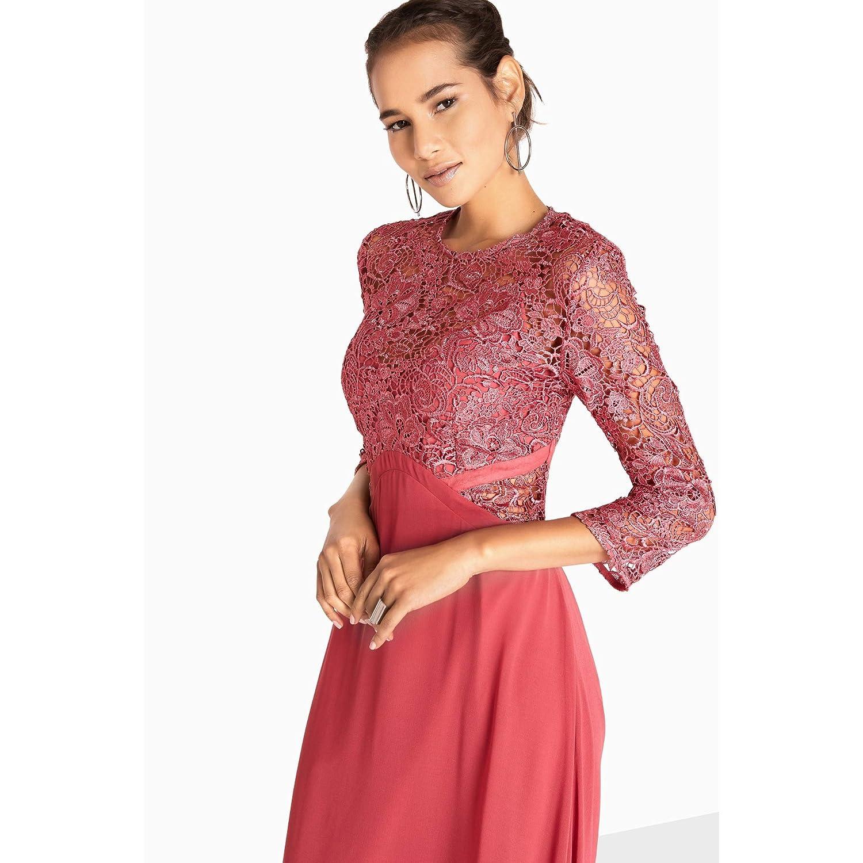 bca49eaa199 Little Mistress Womens Ladies Brooke Crochet Top Maxi Dress (8 UK) (Pink)   Amazon.co.uk  Clothing