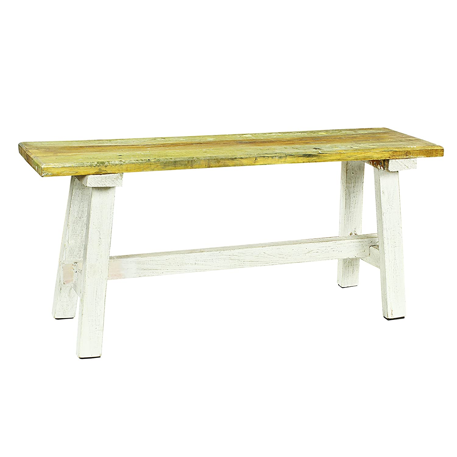 Antique Revival Franco Country Style Bench, White