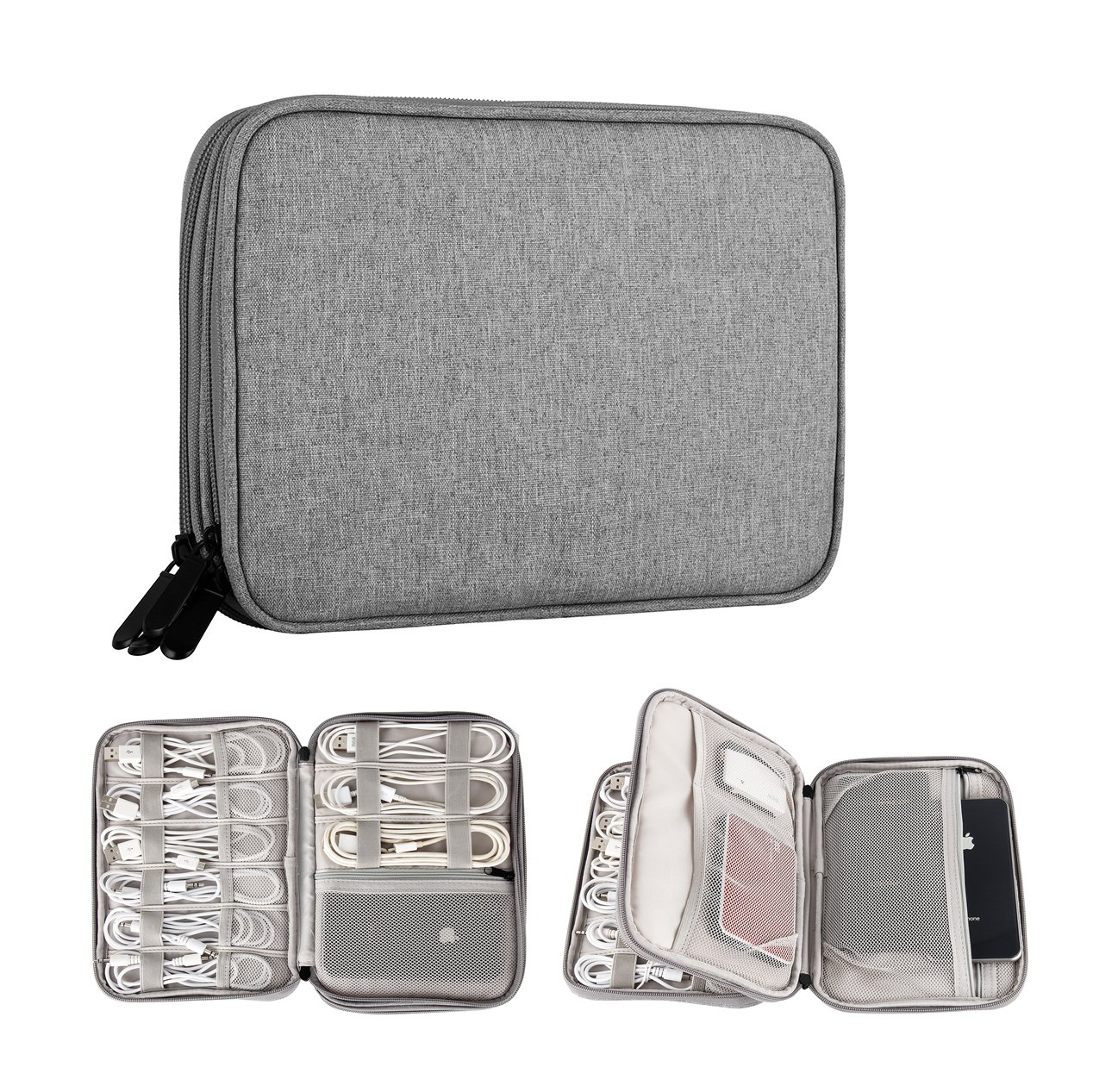Electronic Organizer Bag, Wire Management Pouch, Double Layer Waterproof Cord Wrap organizer Travel Gadget Bag (Grey)