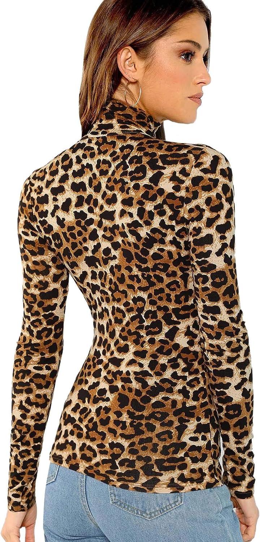 Women Leopard Print High Neck T-Shirt Ladies Long Sleeve Slim Fit Blouse Top Tee