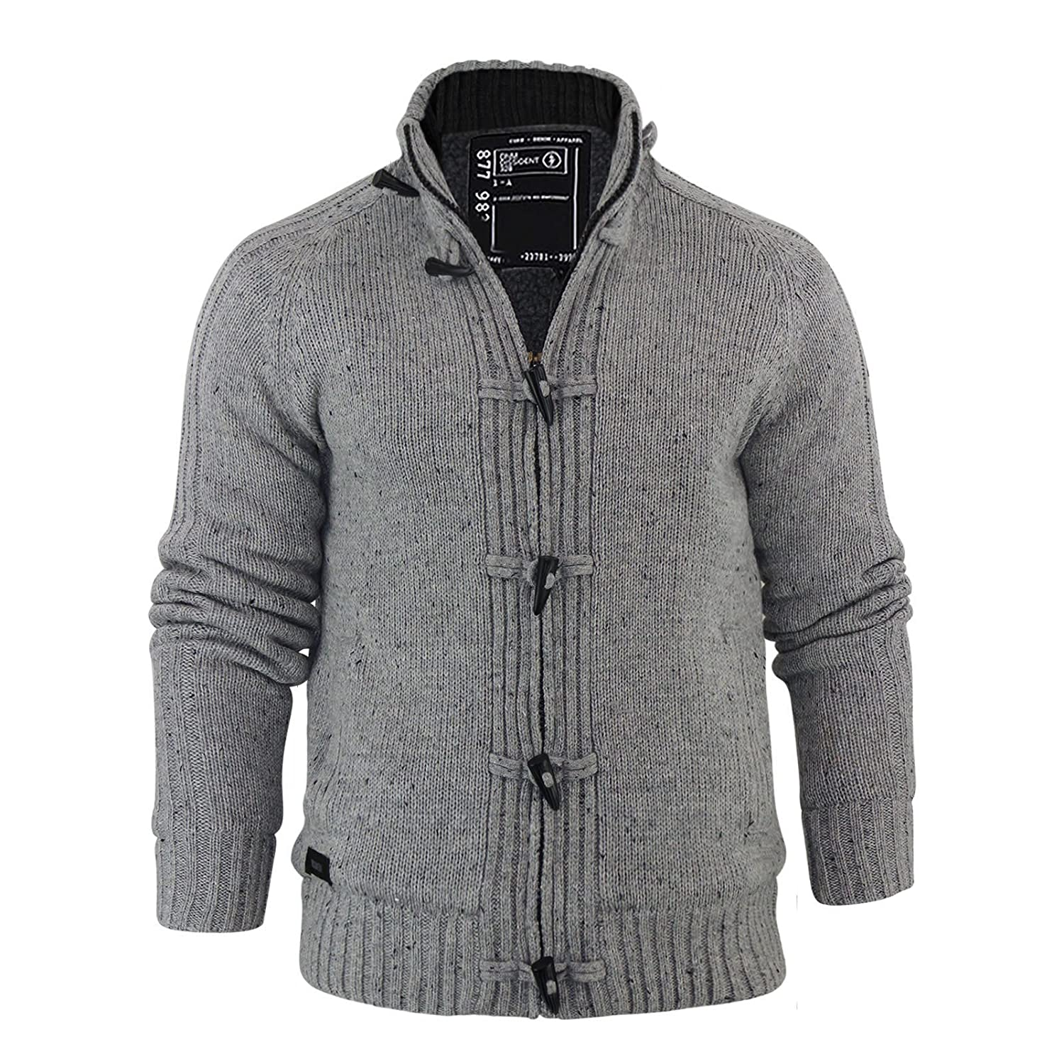 EEZEECAT Men's Sherpa Lined Chunky Knit Warm Fleece Cardigan With ...
