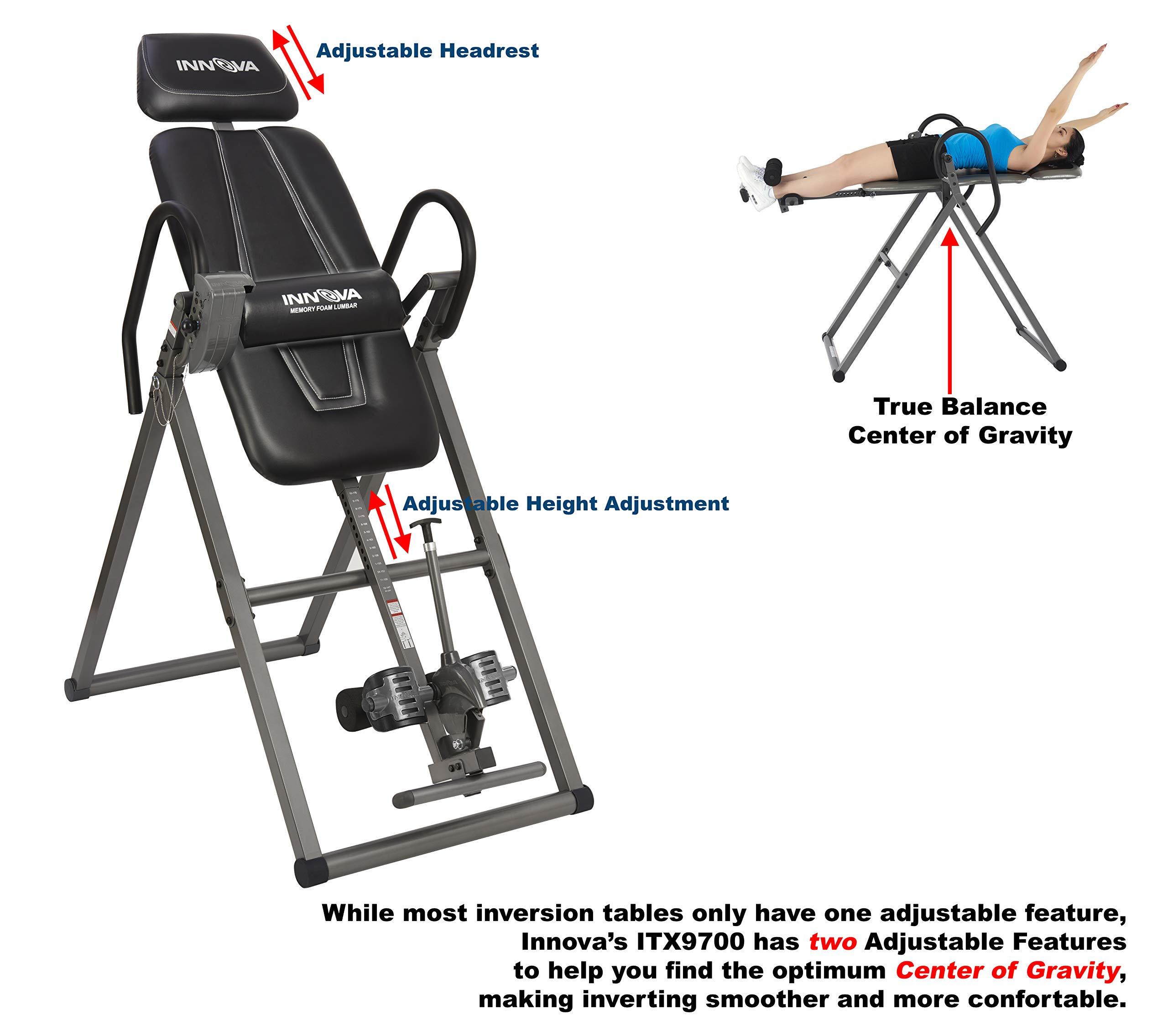 Inversion Table Heavy Duty Innova Itx9600 Therapy Adjustable Headrest Gravity
