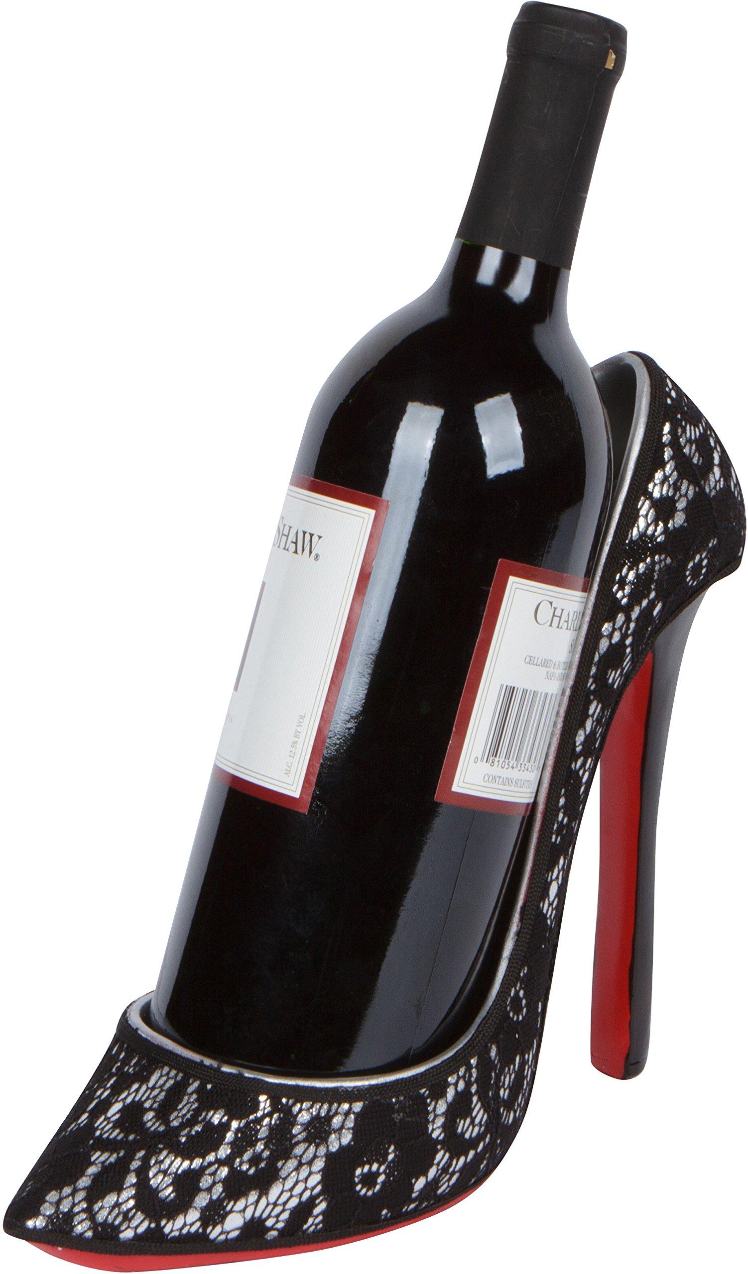 8.5'' x 7''H High Heel Wine Bottle Holder - Stylish Conversation Starter Wine Rack By Hilarious Home (Black/Silver Lace)