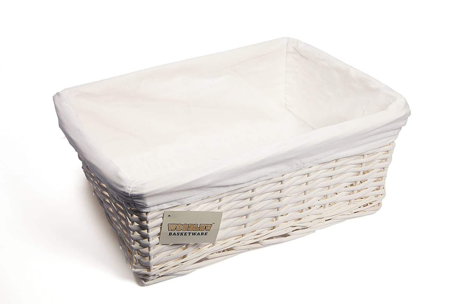Charmant Woodluv New White Wicker Storage Basket With White Cloth Lining (Large)  E01 300L: Amazon.co.uk: Kitchen U0026 Home