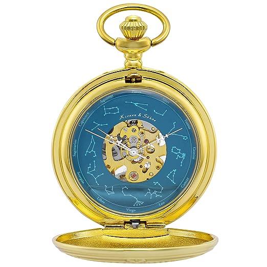 KS Reloj de Bolsillo Hombre con Cadena Antiguos Steampunk Esqueleto Mecánico con Caja de Regalo KSP097: Amazon.es: Relojes
