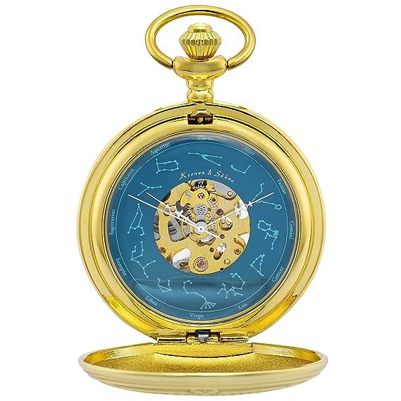 KS Reloj de Bolsillo Hombre con Cadena Antiguos Steampunk Esqueleto Mecánico con Caja de Regalo KSP097