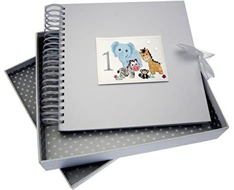 white cotton cards SAF10 - Libro de recuerdos y postales de bebé (diseño de primer cumpleaños y animalitos de safari)