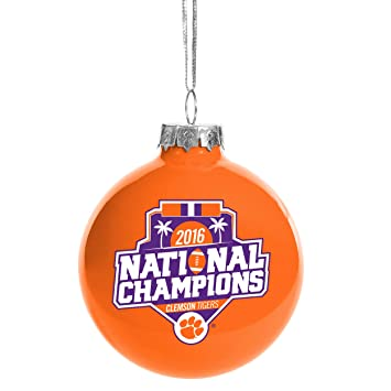 clemson tigers ncaa college football playoff 2016 national champions orange glass christmas tree ornament 2 - Orange Christmas Tree