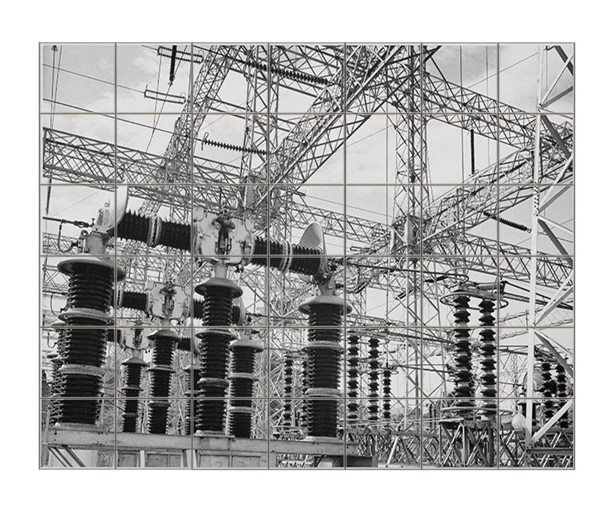 Wires Boulder Dam Power Units (Adams) Horizontal Tile Mural Satin Finish 36''Hx42''W 6 Inch Tile