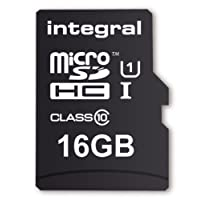 Integral UltimaPro 16 GB MicroSDHC Class 10 Memory Card up to 40 MB/s, U1 Rating - Black