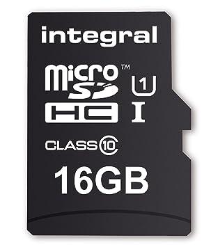 Integral - Tarjeta de Memoria microSDHC con Adaptador (Clase 10) 16 GB