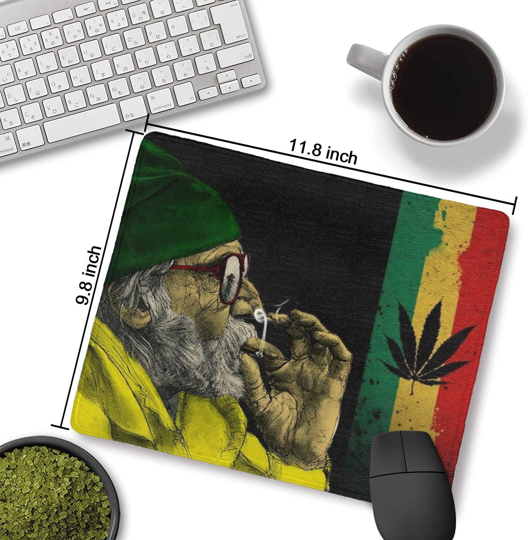 Water-Resistant COWDIY Durable Mouse Pad PC Computer Stitched Edge Mouse Mat for Laptop Weed Marijuana Smoke Man - Jamaica Ganja Weed Marijuana Smoke Man Non-Slip Rubber Base