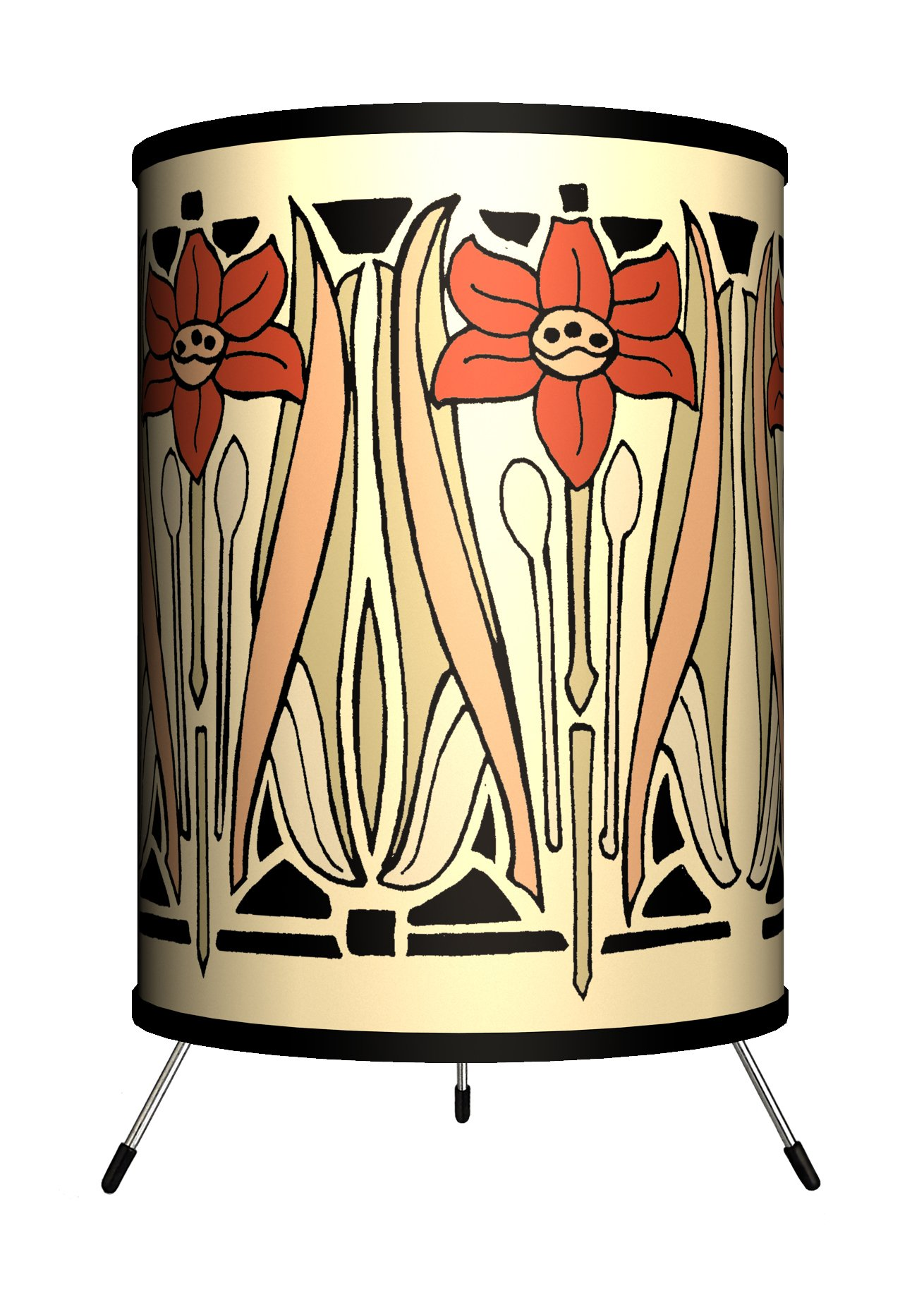 Lamp-In-A-Box TRI-DEC-NOUVB Décor Art - Art Nouveau Beige Tripod Lamp