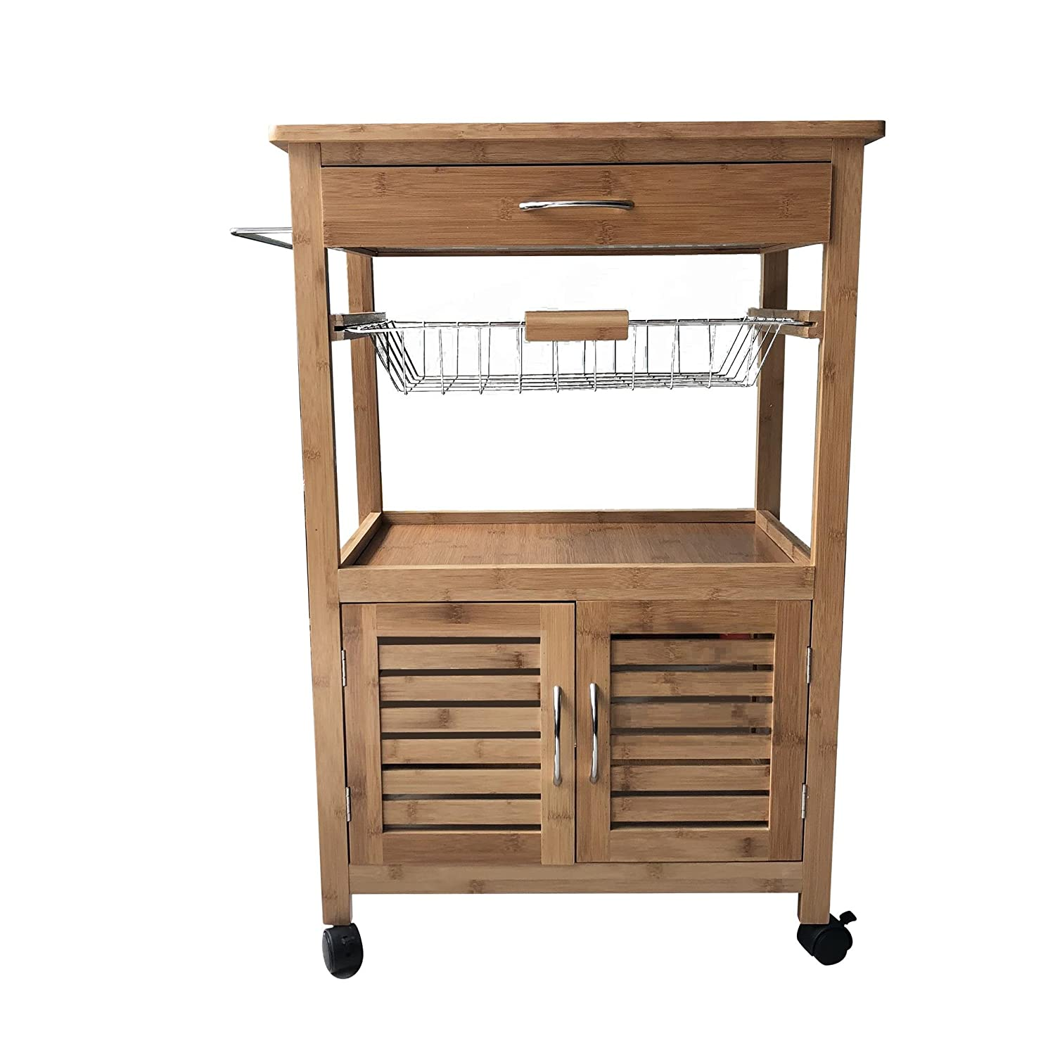 G4RCE 3 Tier Portable Natural Bamboo Wood Kitchen Trolley Basket Cabinet Storage Cart Generic