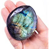 UFEEL Labradorite Palm Stone Crystal - Natural Chakra Reiki Polished Healing Pocket Worry Stone Crystal for Anxiety Stress Re