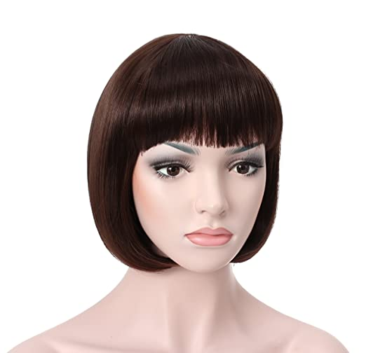 1920s Headband, Headpiece & Hair Accessory Styles OneDor 10 Short Straight Hair Flapper Cosplay Costume Bob Wig (6# - Medium Chestnut Brown) $16.99 AT vintagedancer.com