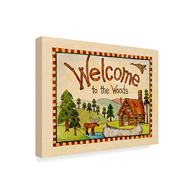 Amazon.com: Trademark Fine Art Barbara Mock Welcome To The Woods Canvas Art: Kitchen & Dining