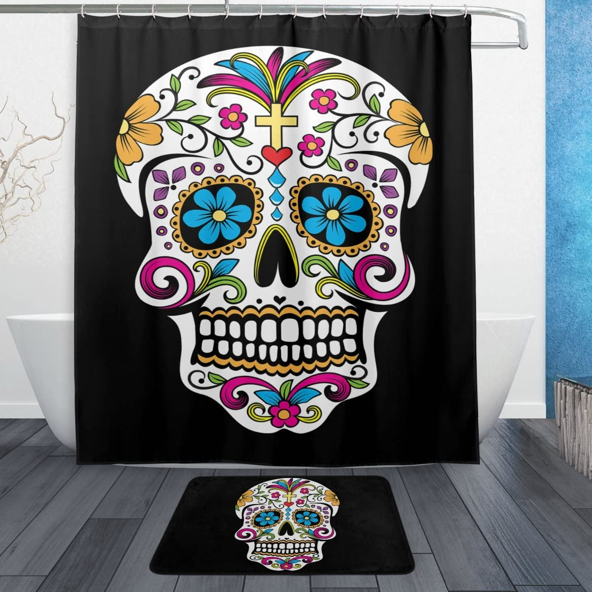 Naanle Fantastic Floral Sugar Skulls Day of The Dead Decor Waterproof Polyester Fabric Shower Curtain (60