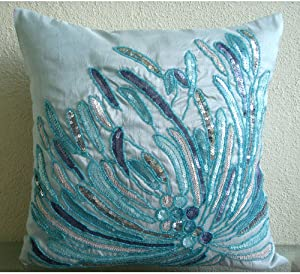 The HomeCentric Decorative Blue Accent ThrowPillows 16x16 inch (40x40 cm), Silk Throw Pillows for Couch, Abstract, Waves, Sequin Embellished, Beach Style Cushion Cover - Water Burst