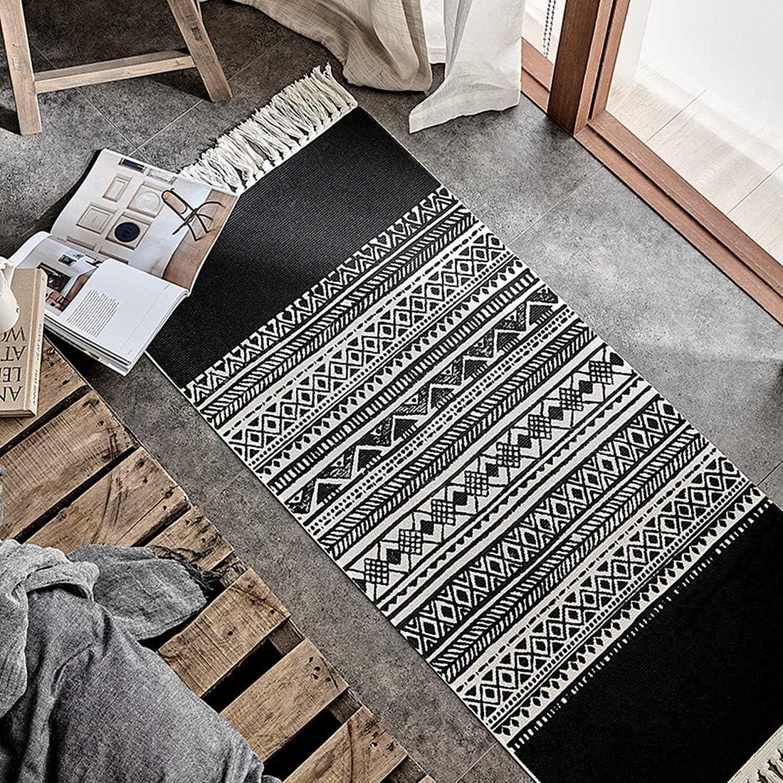 "Ukeler Black&White Laundry Room Rug Cotton Tassel Hand Woven Braided Doormat for Bathroom Porch Bedroom Home Décor Rug, 23.6"" x 51.2"""