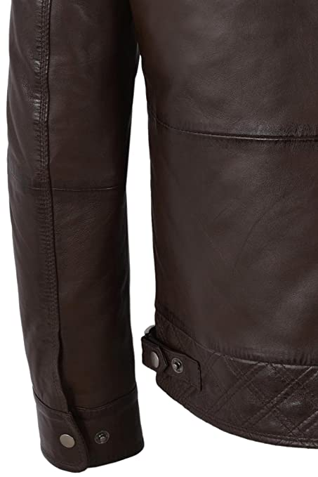 Mens Biker Leather Jacket Brown Double Layered Collar & Zip Real Leather M-139 at Amazon Mens Clothing store: