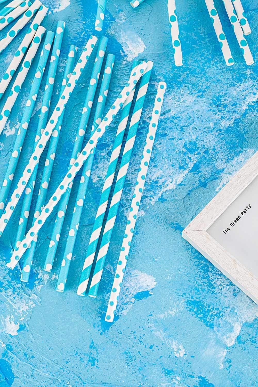 BofA rayas coloridas Pajitas de papel azul marino 19.7cm Paquete de 100