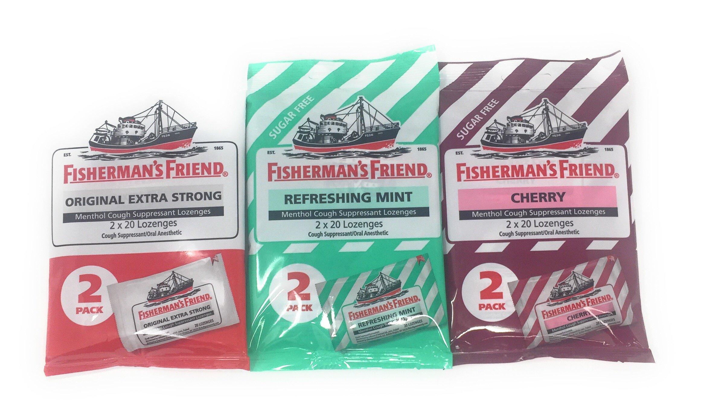 Fisherman's Friend Cough Suppressant Lozenges, 40-Count Bags Variety Set (1 of Each Flavor)