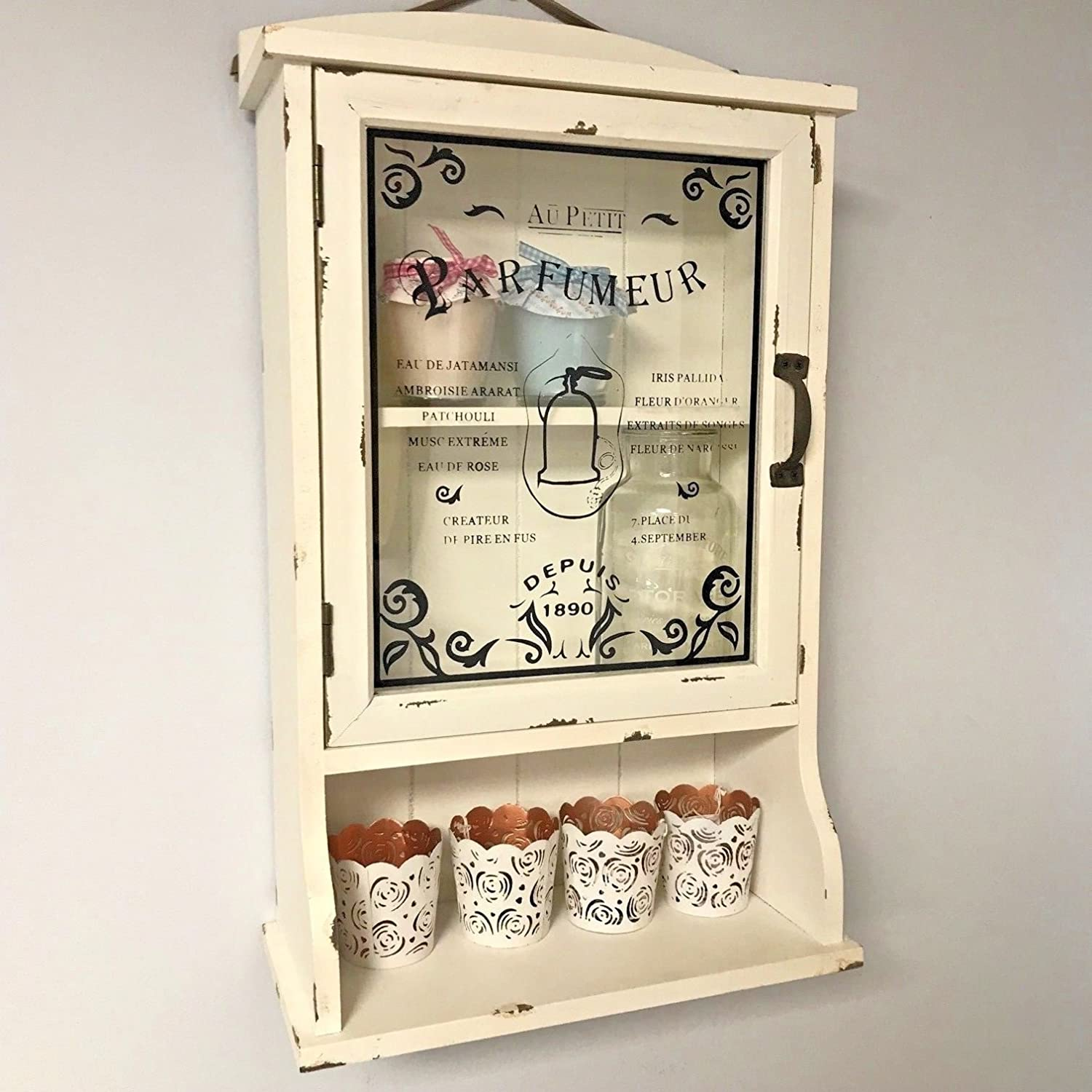 Oscar's Boutique Vintage Cream Bathroom Style Wall Mounted Glass Cabinet Door French Shabby Chic Oscar's Boutique