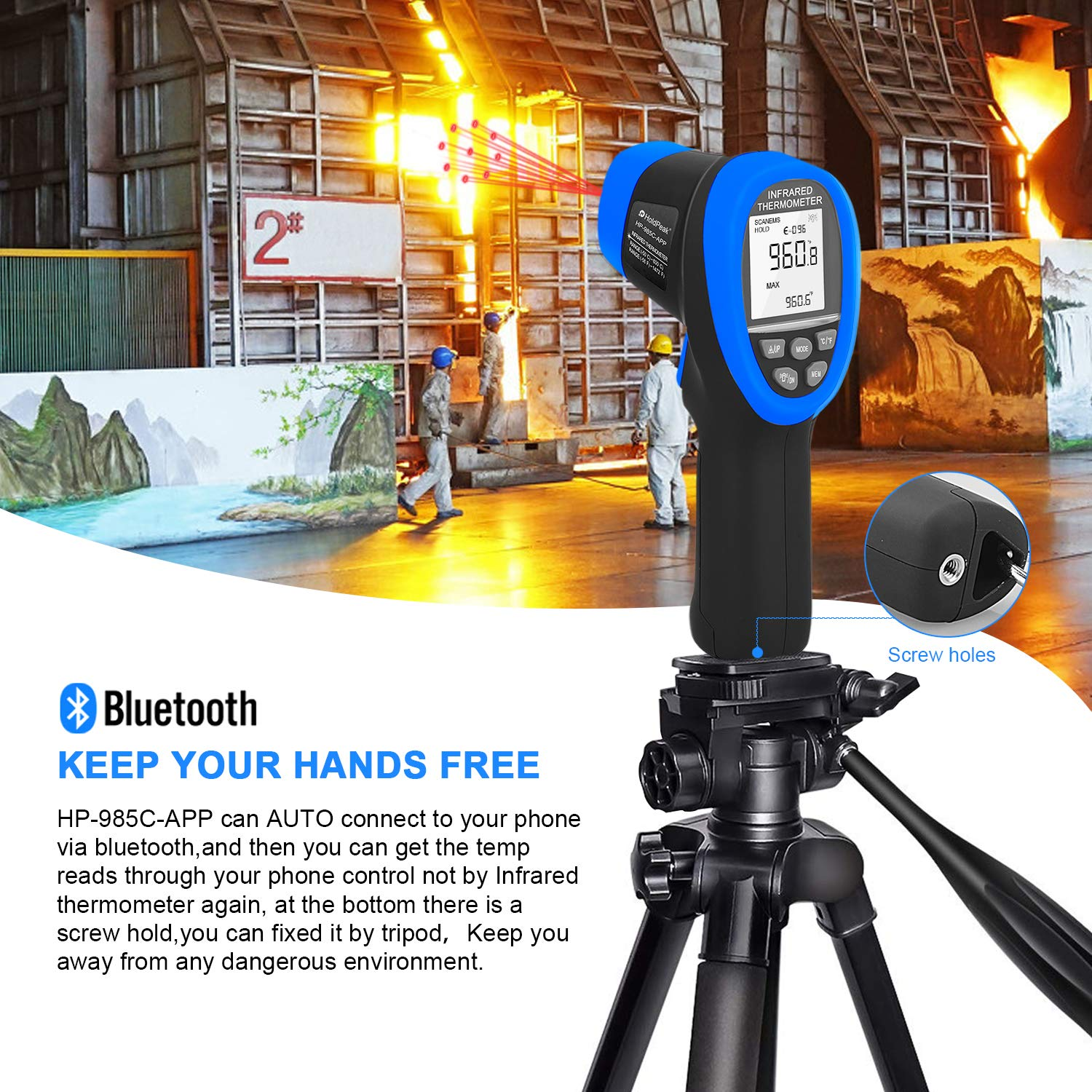 HOLDPEAK HP-985C-APP Infrared Thermometer Gun Connect to Your Phone via Bluetooth with APP,Non-Contact IR Temperature Gun -58 to1472℉(-50 to 800℃),DS 16:1 with Adjustable Emissivity for Forge Kiln by H HOLDPEAK (Image #6)