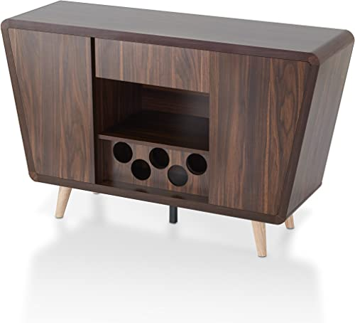 ioHOMES IDI-161549 Gwendalynn Mid-Century Buffet Server with Handless Drawer Storage, Wine Rack and Side Cabinets, Dark Walnut