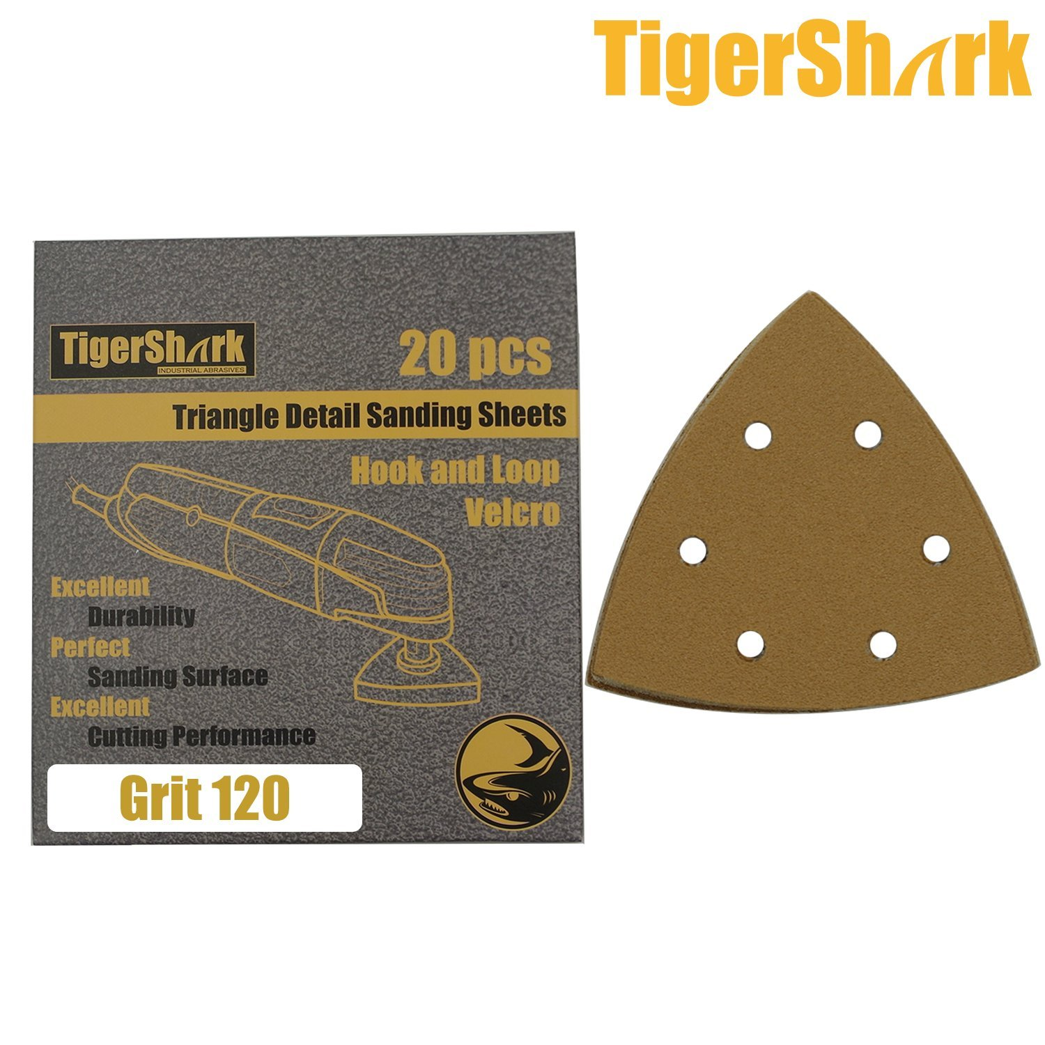 TigerShark Grit80-220 20pcs Multi Oscillating Tools Detail Sanding Sheets Triangle Sand Pads Special Anti Clog Coating Paper Gold Line Hook and Loop Dustless