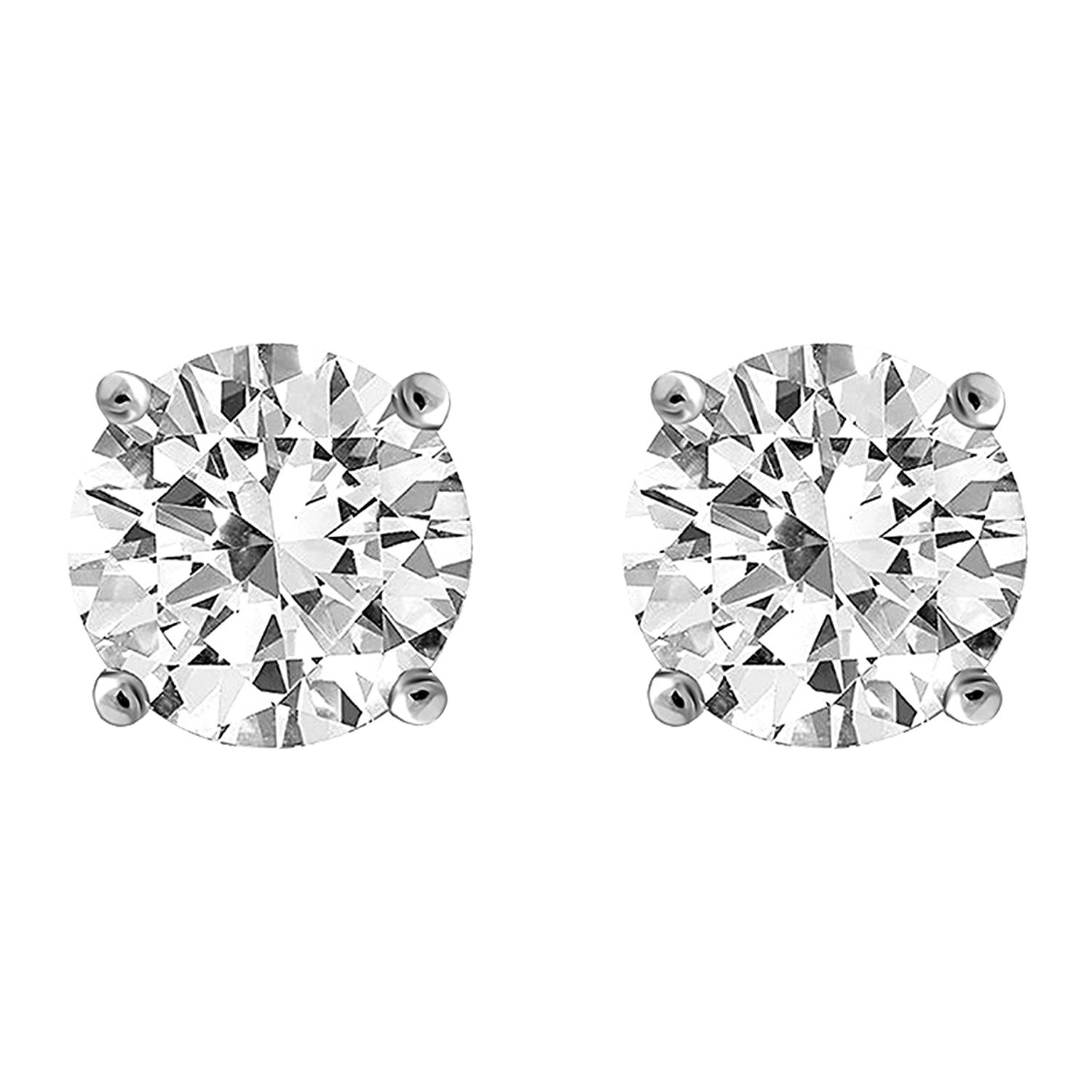 IGI Certified Diamond Stud Earrings for Women Set in 14K Gold, Supreme Quality Clarity I2I3