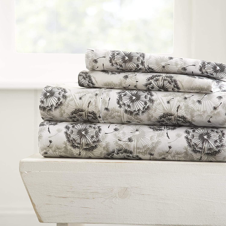 Linen Market 4 Piece Sheet Set Make A Wish Patterned, Queen, Light Gray